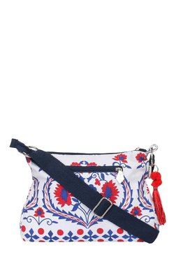 Pick Pocket White & Blue Printed Canvas Sling Bag