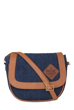 Pick Pocket Navy Solid Denim Sling Bag