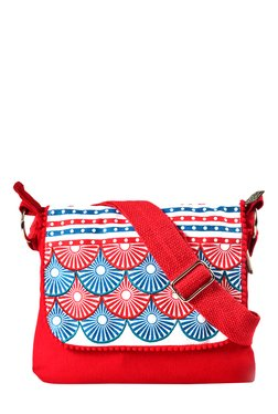 Pick Pocket Red & Blue Printed Canvas Sling Bag