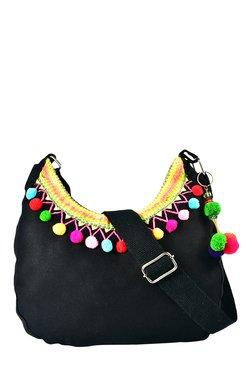 Pick Pocket Black Canvas Sling Bag