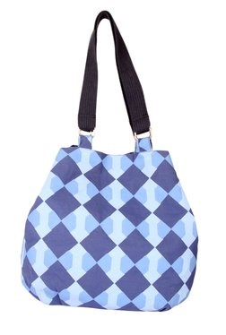 Pick Pocket Blue Checkered Canvas Shoulder Bag