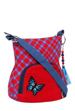 Pick Pocket Red & Blue Plaid Canvas Sling Bag