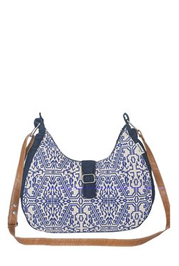 Pick Pocket Blue Printed Canvas Sling Bag - Mp000000001433935