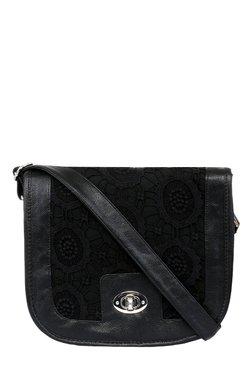 Pick Pocket Black Lace Canvas Sling Bag