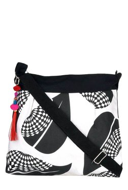 Pick Pocket White & Black Printed Canvas Sling Bag