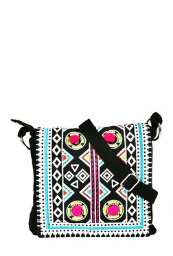 Pick Pocket Black & Blue Embroidered Canvas Sling Bag