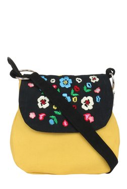 Pick Pocket Yellow & Block Embroidered Canvas Sling Bag