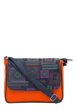 Pick Pocket Orange & Navy Embroidered Canvas Sling Bag