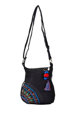 Pick Pocket Black Embroidered Canvas Sling Bag - Mp000000001434004