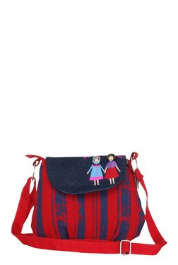 Pick Pocket Red & Navy Embroidered Canvas Sling Bag