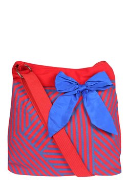 Pick Pocket Blue & Red Striped Canvas Sling Bag