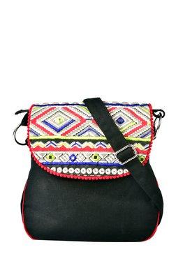 Pick Pocket Black Embroidered Canvas Sling Bag - Mp000000001434046