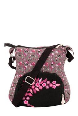 Pick Pocket Grey & Pink Embroidered Canvas Sling Bag