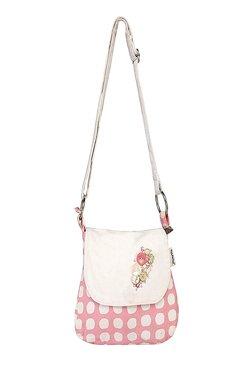 Pick Pocket Pink & White Polka Dots Canvas Sling Bag