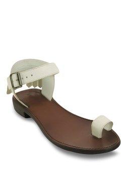 Salt 'n' Pepper Zed Off-White Ankle Strap Toe Ring Sandals