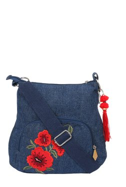 Pick Pocket Navy Floral Embroidered Sling Bag