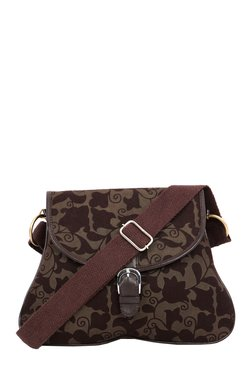 Pick Pocket Olive & Brown Printed Canvas Sling Bag