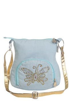 Pick Pocket Light Blue Embellished Canvas Sling Bag