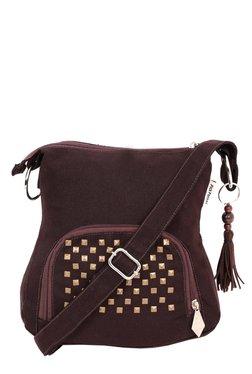 Pick Pocket Brown Embellished Canvas Sling Bag