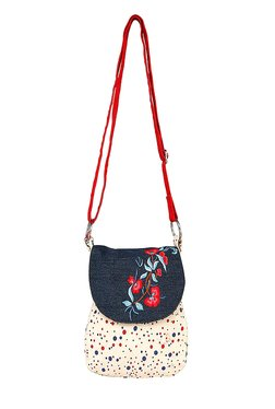 Pick Pocket Navy & Beige Embroidered Canvas Sling Bag