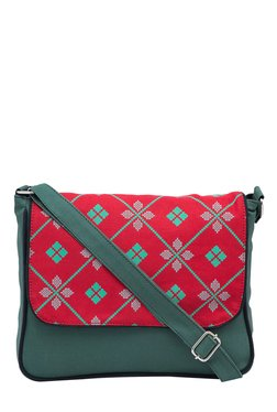 Pick Pocket Green & Red Printed Canvas Sling Bag