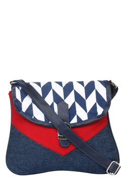 Pick Pocket Blue & Red Printed Canvas Sling Bag