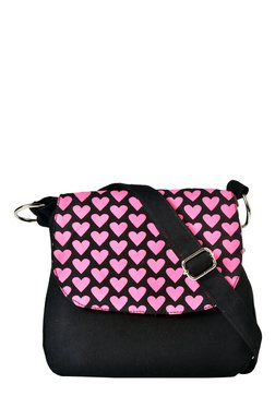 Pick Pocket Black & Pink Printed Canvas Sling Bag