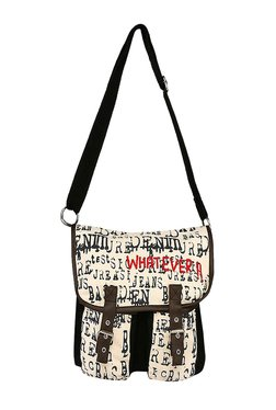 Pick Pocket Beige & Black Printed Canvas Sling Bag