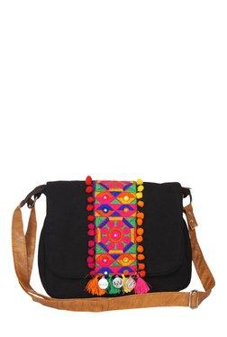 Pick Pocket Black Embroidered Canvas Sling Bag - Mp000000001434217
