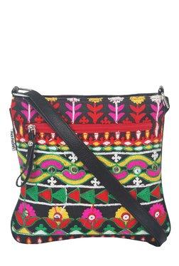 Pick Pocket Black Embroidered Canvas Sling Bag