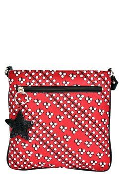 Pick Pocket Red & White Printed Canvas Sling Bag