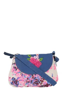 Pick Pocket Blue & Pink Printed Canvas Sling Bag