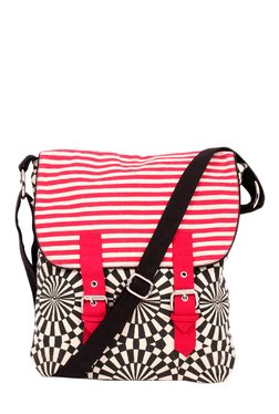 Pick Pocket Black & Red Printed Canvas Sling Bag