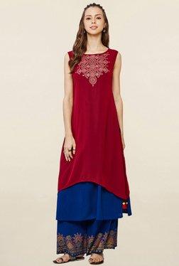 Global Desi Maroon & Blue Embroidered Kurta With Palazzo
