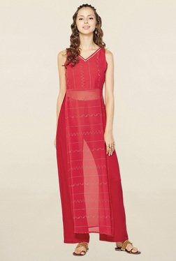 Global Desi Red Embroidered Kurta With Palazzo