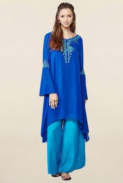 Global Desi Blue Embroidered Kurta With Palazzo