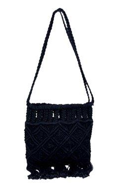 Diwaah Black Woven Cotton Sling Bag