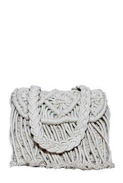 Diwaah White Woven Cotton Sling Bag