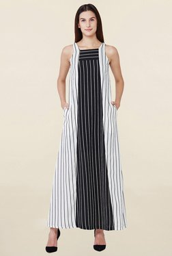 AND Black & White Striped Trapeze Dress