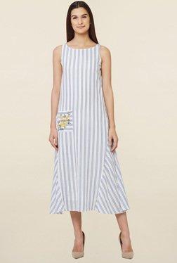 AND White Striped Trapeze Dress