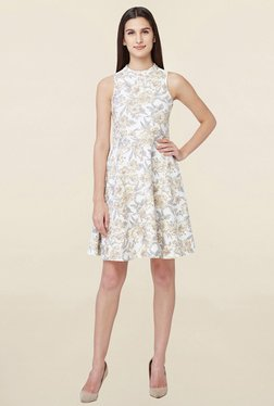 AND Off White Floral Print Skater Dress