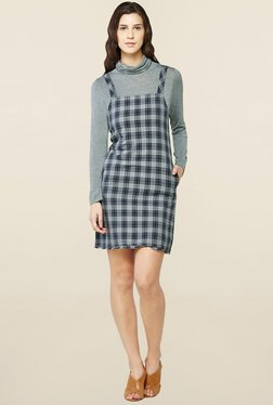 AND Grey Checks Dungaree Dress