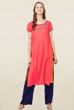 Global Desi Peach Embroidered Kurta
