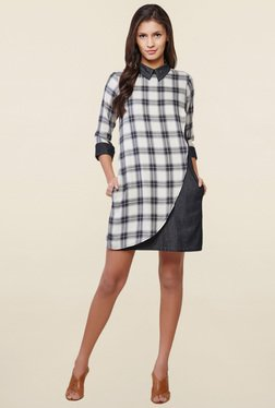 AND Grey Checks Shift Dress
