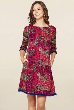 Global Desi Pink Printed Shift Dress