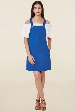 AND Royal Blue Above Knee Dungaree Dress