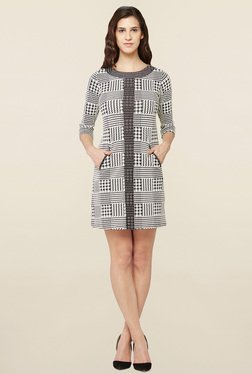 AND Grey Printed Shift Dress
