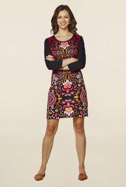 Global Desi Black Printed Shift Dress