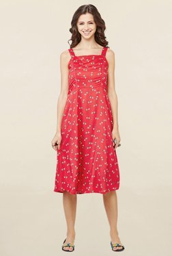 Global Desi Red Floral Print Pinafore Dress