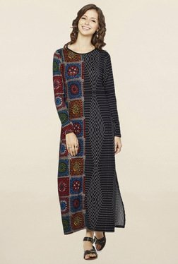 Global Desi Black Geometric Print Dress